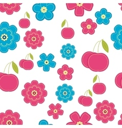 Floral background with cherry seamless easter vector