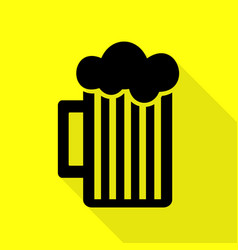 Glass of beer sign black icon with flat style vector