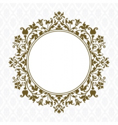 Gold round floral frame vector