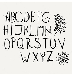 Hand drawn brush letters set Charcoal symbols vector image vector image