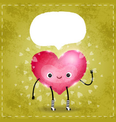 Happy Valentines day card with cute heart vector image vector image