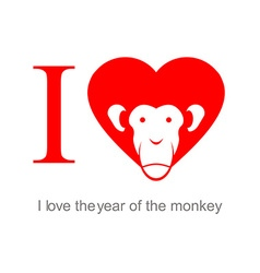 I love the year of the monkey 2016 Symbo heart as vector image