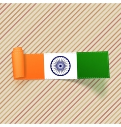 India flag on scroll textile banner vector