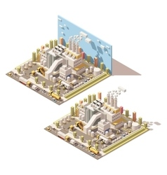 isometric factory building with smoking vector image
