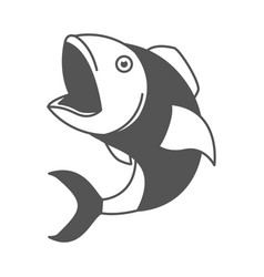 Monochrome silhouette of open mouth fish vector
