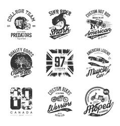 Old grunge effect tee print design set vector