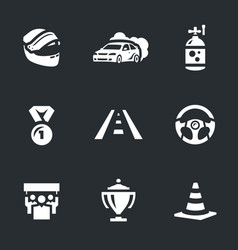 set of auto rally icons vector image vector image