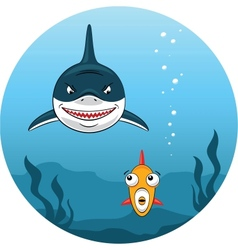 Shark hunting for small fish vector image vector image