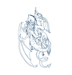 St george slay dragon drawing vector