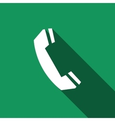 Telephone handset icon with long shadow vector image