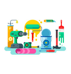 Tools for repair or construction paint and hammer vector