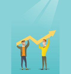 Two businessmen holding growth graph vector