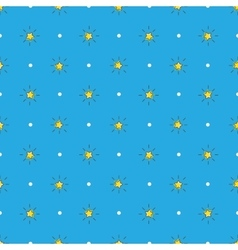 Yellow stars with rays seamless pattern vector