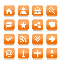 Orange basic sign rounded square icon web button vector