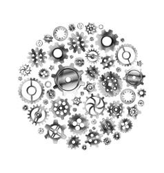 Glossy metal cogwheels arranged in a circle shape vector