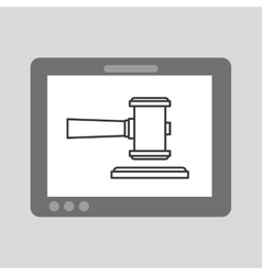 Hand holding tablet finance justice vector
