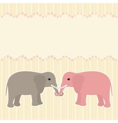 Two elephants card vector