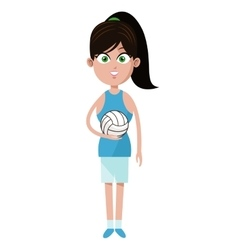 Player girl volleyball pony tail and ball vector