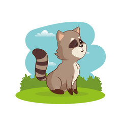 Cute raccoon animal with landscape vector