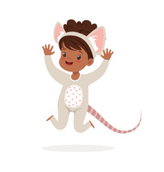 Cute happy little girl dressed as a mouse kids vector