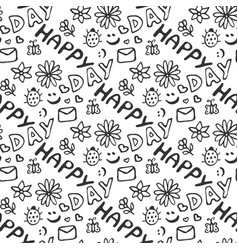 Cute doodle seamless pattern with hearts flowers vector