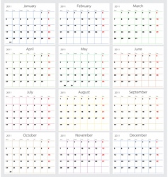 2011 calendar vector image vector image