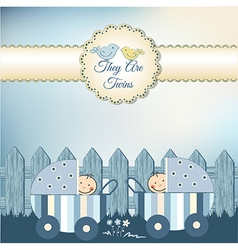 Twins baby shower invitation vector