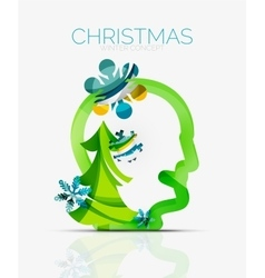 Christmas head concept modern holiday user design vector