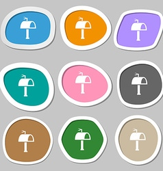 Mailbox icon sign multicolored paper stickers vector