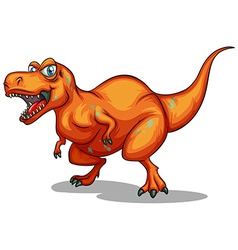 Orange dinosaur with sharp teeth vector