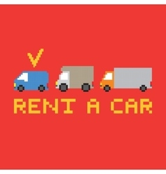 Pixel art rent a car card vector