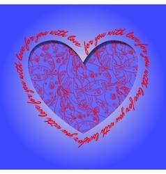 Love card deep blue red heart design with vector