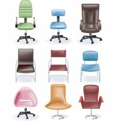 Furniture icon set chairs vector