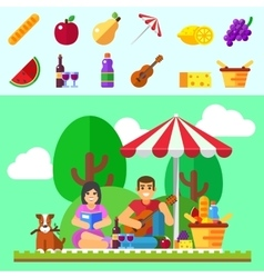 Summer picnic young family with dog vector
