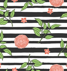 Floral seamless pattern with stripes vector