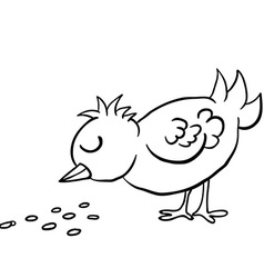 Black and white bird eating seed vector