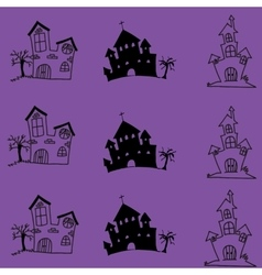 Halloween castle doodle art vector