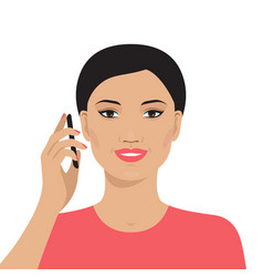 Asian woman talking on the mobile phone vector