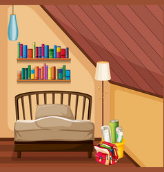 Bedroom with bed and bookshelves vector