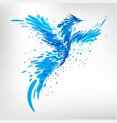 Blue fantasy bird vector