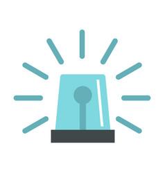 blue flashing emergency light icon flat style vector image