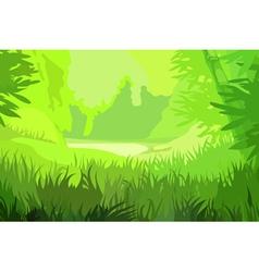 Cartoon background bright green field vector