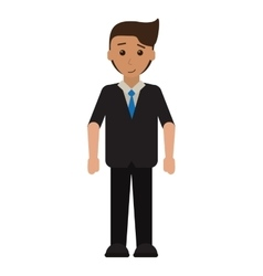 Cartoon young man with suit tie employee vector