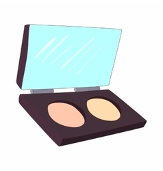 Cosmetic powder in a box icon cartoon style vector