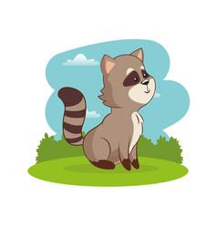 Cute raccoon animal with landscape vector