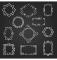 Decorative picture frames on chalkboard vector