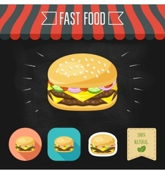 Double cheeseburger icon on a chalkboard Set of vector image