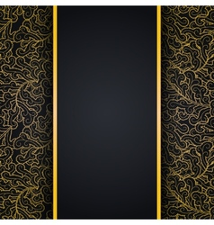 Elegant black background with gold lace ornament vector image vector image