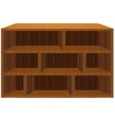 empty wooden shelves on white vector image vector image