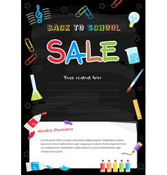 Event back to school sale black chalkboard poster vector